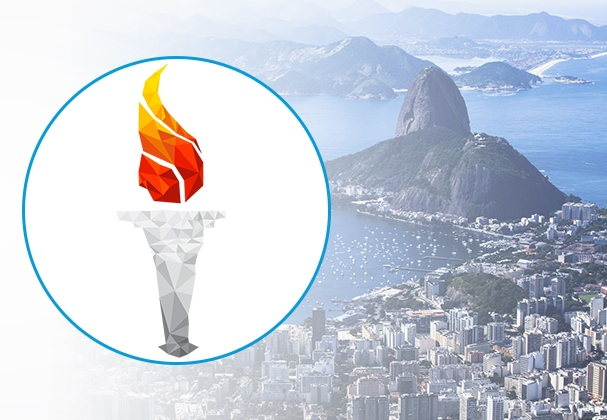 View of Rio and Olympic torch
