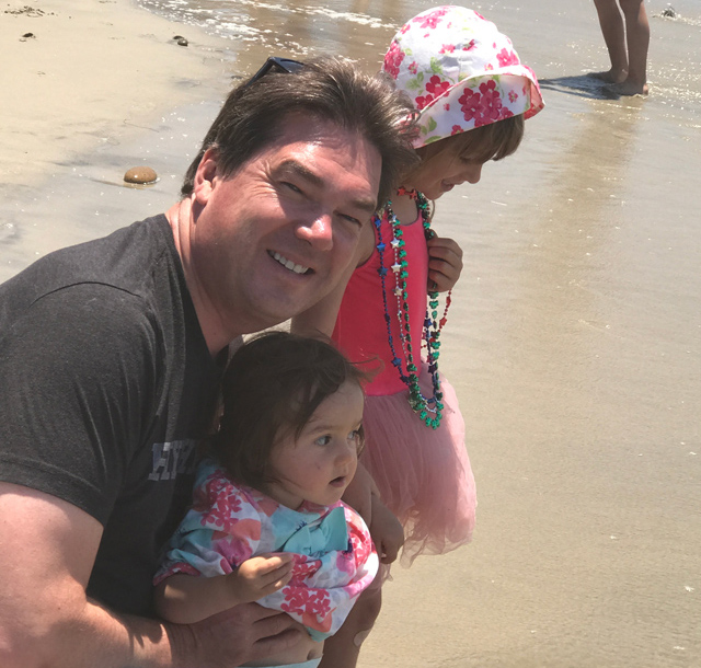 Oliver with his oldest daughter Soraya and Amara at the beach in San Diego this summer.